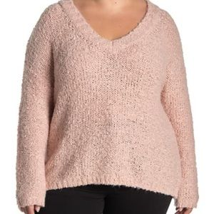 SUSINA Boucle Knit V-Neck Sweater